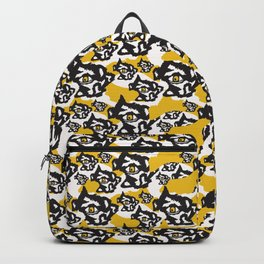 Yellow and Black Rough Abstract Dark Eyes Backpack