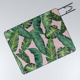 Jungle Leaves, Banana, Monstera II Pink #society6 Picnic Blanket