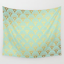 Art Deco Mermaid Scales Pattern on aqua turquoise with Gold foil effect Wall Tapestry