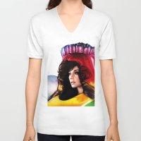 bjork V-neck T-shirts featuring BJORK - VOLTA by Denda Reloaded