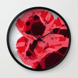 In memoriam - Heart of poppies Wall Clock