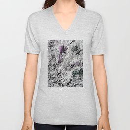 Stone Rock Abstract Stone Texture, Black and White with Color Details Unisex V-Neck