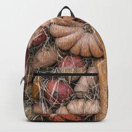 Pumpkins on hay Backpack
