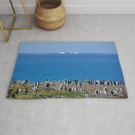 King Penguins in front of an iceberg Rug