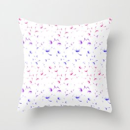 Dandelion Seeds Bisexual Pride (white background) Throw Pillow