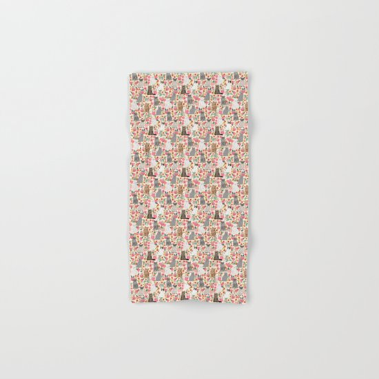 Cat Flowers cute spring summer garden cat lady pattern gift for cat person cat breed pet portraits  Hand & Bath Towel