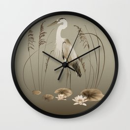 Heron and Lotus Flowers Wall Clock