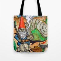 gnome Tote Bags featuring Gnome by Steven Suiter