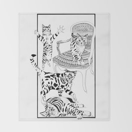Cats with a chair - Ink artwork Throw Blanket