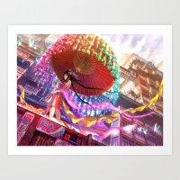 Niji Karakasa (Rainbow Umbrella) Art Print