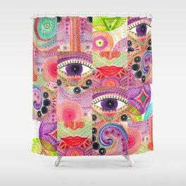 colorful words of a poem Shower Curtain