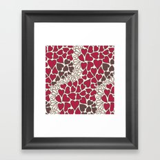 HEARTS  ~  CRIMSON, CLEAR, BROWN Framed Art Print