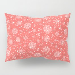 Christmas snowflakes on red background Pillow Sham