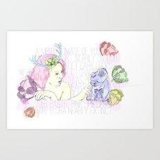 Spring & Her Cat Art Print