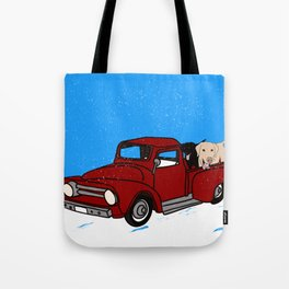 Best Labrador Buddies In Old Red Truck Tote Bag
