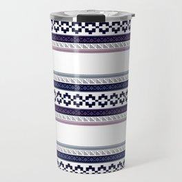Hipster fairisle modern pixel art fair isle pattern geometric print Travel Mug