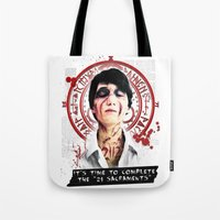 "silent hill Tote Bags featuring Silent Hill - It's time to complete the ""21 Sacraments"" by Emme Gray"