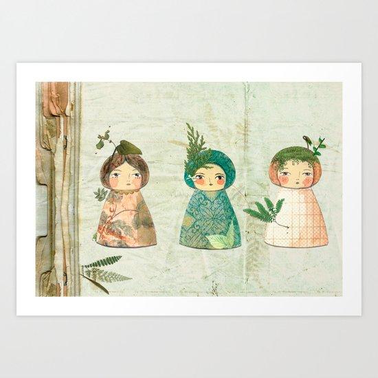 Herbs paperdolls Art Print