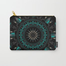 Buffalo Skull and Feathers (Aqua) Carry-All Pouch