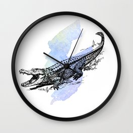 Florida Alligator on Purple Blue Green Watercolor Wall Clock