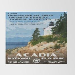 Vintage poster - Acadia National Park Throw Blanket