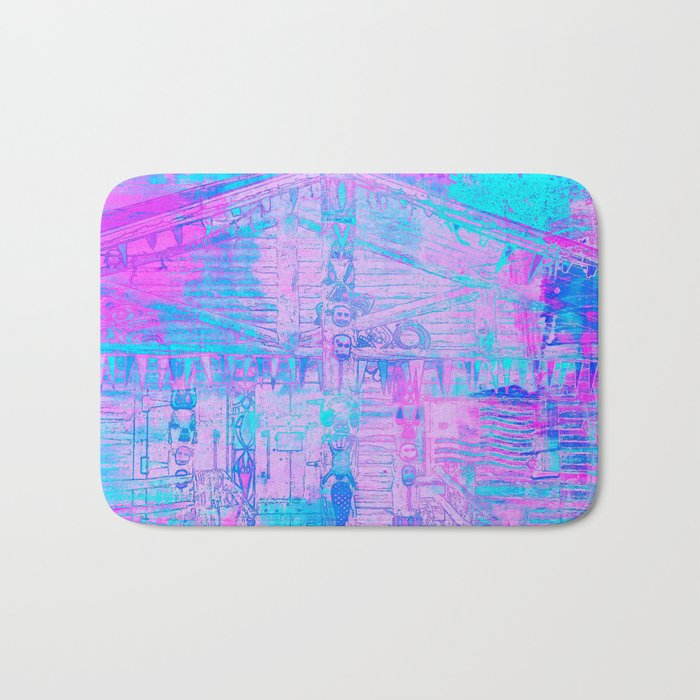 Totem Cabin Abstract - Hot Pink & Turquoise Bath Mat