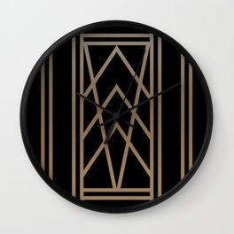 BLACK AND GOLD 2 (abstract art deco geometric) Wall Clock