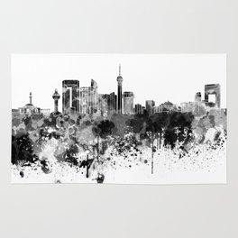 Jeddah skyline in black watercolor Rug