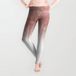 Girly Glamorous Rose Gold Glitter Striped Gradient Leggings