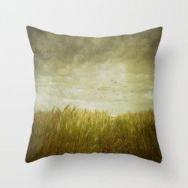 Vintage Wheat Field Throw Pillow