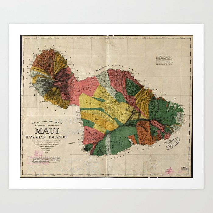 picture relating to Printable Map of Maui identified as Traditional Map of Maui Hawaii (1885) Artwork Print by way of bravuramedia