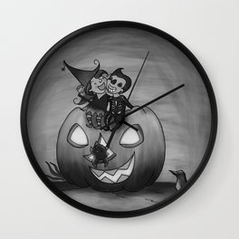Happy Halloween black and white Wall Clock