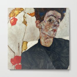 "Egon Schiele ""Self-Portrait with Physalis"" Metal Print"