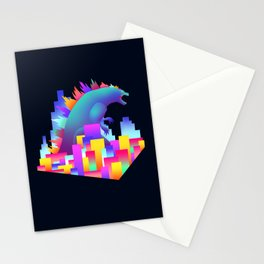 Neon city Godzilla Stationery Cards