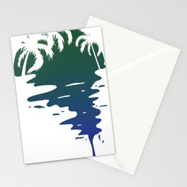 Blue Sunset Palm trees Stationery Cards