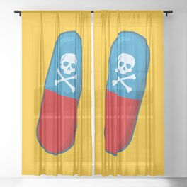 Deadly but Colorful. Pills Pattern Sheer Curtain