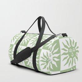 Mid Century Modern Sun Pattern Sage Green Duffle Bag