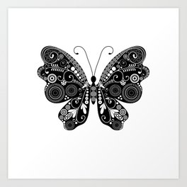 Solid Black Butterfly Tattoo Art Print