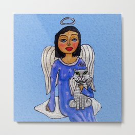 Peaceful Folk Art Angel White Cat Angel Sky on Cloud Blue Metal Print