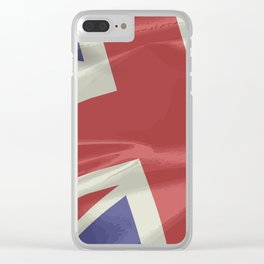 Silk Union Jack Flag Closeup Clear iPhone Case