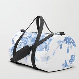 Modern navy blue white watercolor elegant floral Duffle Bag