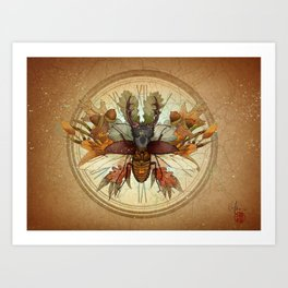 The beetle and the autumn Art Print