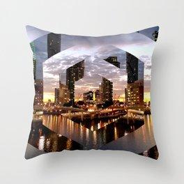 Beautiful Geometric Brisbane River Print Throw Pillow