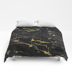 Gold Flecked Black Marble Comforters