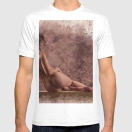 Nude woman watercolor vintage T-shirt