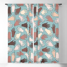 Nail Expert Studio - Colorful Manicured Hands Pattern Blackout Curtain