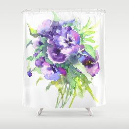 Pansy, flowers, violet flowers, gift for woman design floral vintage style Shower Curtain