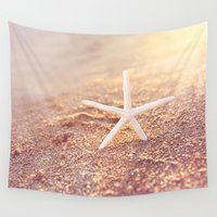starfish Wall Tapestries featuring golden starfish by Sylvia Cook Photography