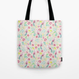 Watercolor Birds and Spring Flowers Tote Bag