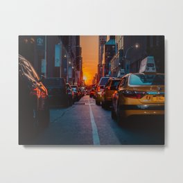 New York City Taxi Sunset (Color) Metal Print